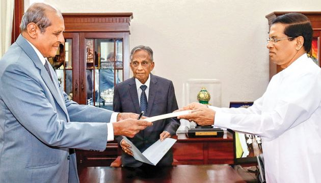 Development Assignments Minister Tilak Marapana was sworn in as the Foreign Affairs Minister before President Maithripala Sirisena at the Presidential Secretariat on Tuesday. Picture by Chandana Perera