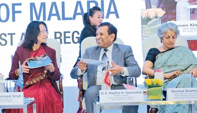 Health Minister Dr. Rajitha Senaratne chats with WHO Regional Director for South - East Asia Dr. Poonam Khetrapal Singh during the Ministerial Roundtable.