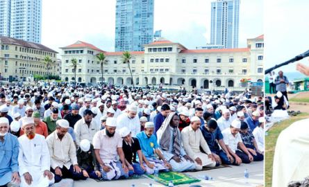 Islam devotees participating in special prayers to mark Eid-ul-Fitr at the Galle Face Green conducted by Moulavi Al Haj Eishan Qadri yesterday. Pictures by Saman Sri Wedage