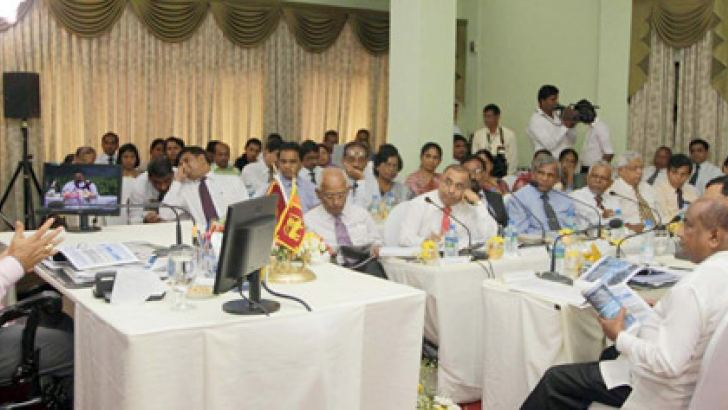 President Mahinda Rajapaksa addressing participants at the progress evaluation meeting of the Agriculture Ministry to prepare the 2013-2015 mid-term plan yesterday.  Picture by Nalin Hewapathirana
