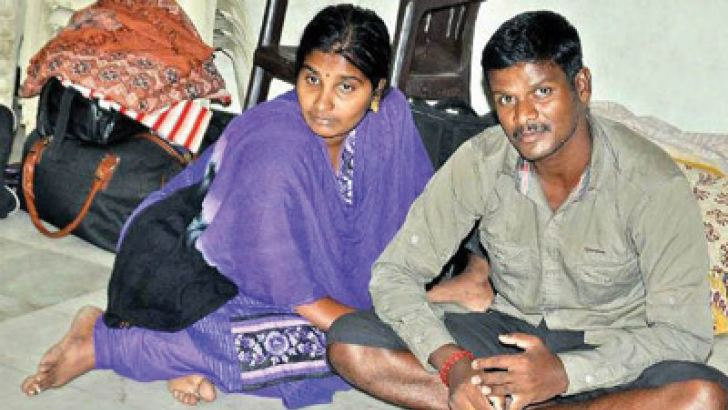 Two Sri Lankan refugees at a community hall on Tuesday after police thwarted their effort to go to Australia illegally by boat.—Deccan Chronicle
