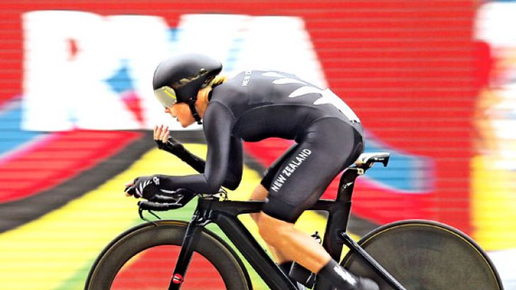 Linda Melanie Villumsen of New Zealand in action on her way to winning the Womens Elite Individual Time Trial during day three of the UCI Road World Championships in Richmond, Virginia.  AFP