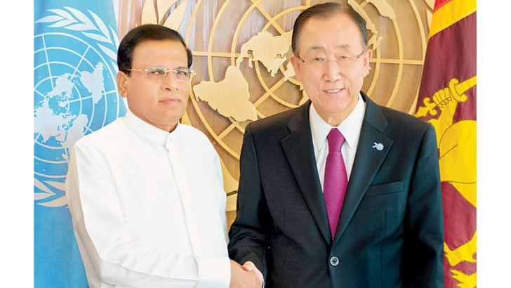President Maithripala Sirisena and UN Secretary-General Ban Ki-moon greet each other during  their meeting in New York on Saturday
