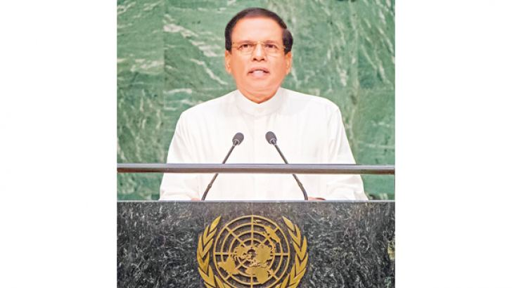 President Maithripala Sirisena addressing the 70th UNGA Session in New York yesterday. Picture courtesy President's Media Division