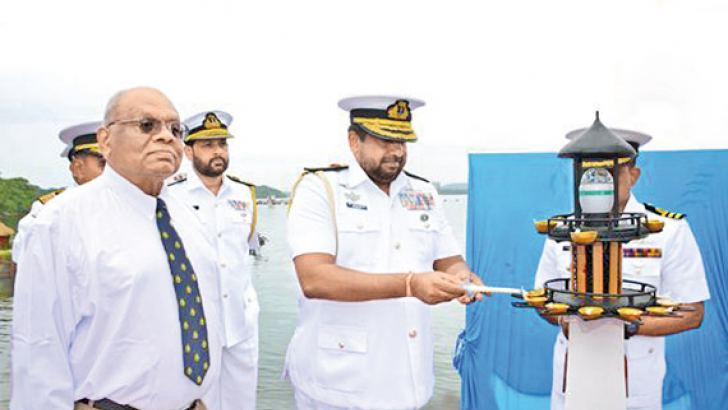 Navy Commander Vice Admiral Ravindra Wijegunaratne participates in the Golden Jubilee celebrations of the Sri Lanka Navy Salvage and Diving Unit in Trincomalee.