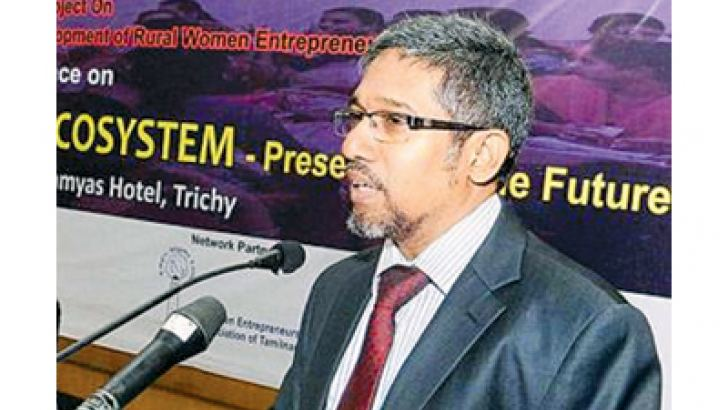 M.M.M.Najim, Vice-Chancellor, South Eastern University of Sri Lanka, addressing the conference on 'Women entrepreneurship ecosystem-present and future' in Tiruchi