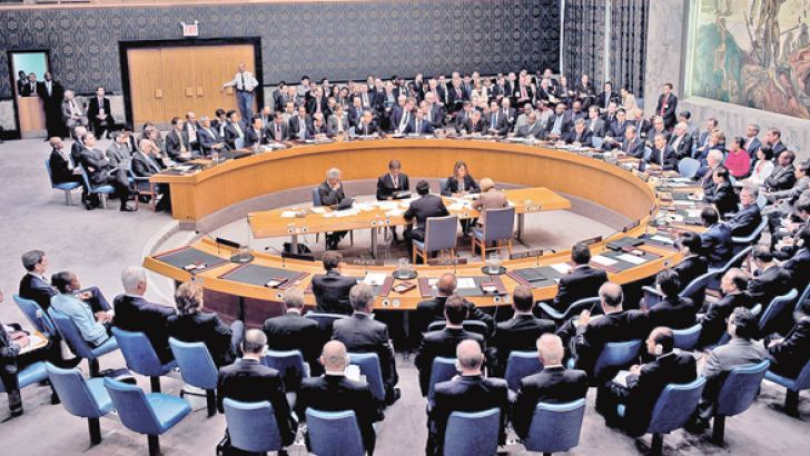 A United Nations Security Council meeting.