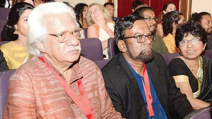 Adoor Gopalakrishnan with Ashley  Ratnavibhushana watching Dheepan  (Pictures by Sarath Peiris)