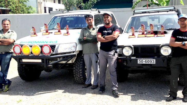 [From left) Joint Champions Sam Chandrasoma (Driver), Sarindu Gamage (Co-Driver), Shafraz Junaid (Driver) and Akhry Ameer (Co-Driver)