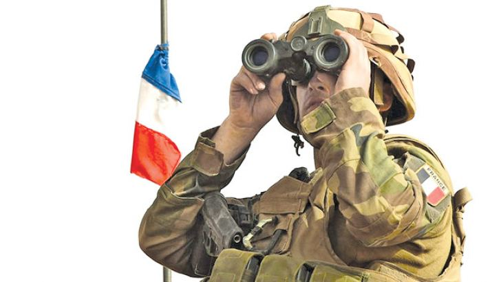 A French soldier on alert.