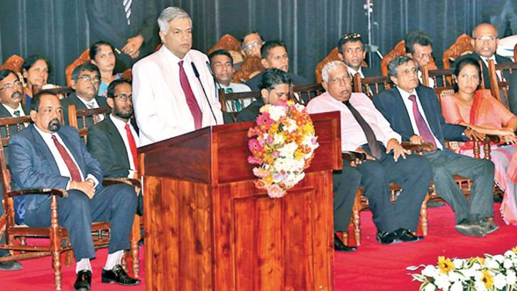 Prime Minister Ranil Wickremesinghe addressing the first meeting of the third Youth Parliament yesterday. Picture by Ranjith Asanka
