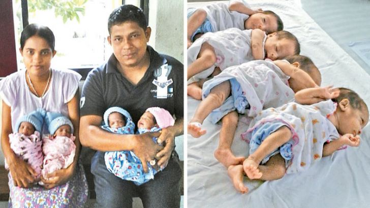A mother of Saliyawewa in Anuradhapura gave birth to quadruplets at the Anuradhapura Teaching hospital yesterday. All four babies were born after 31 weeks, several weeks before the normal pregnancy period. Picture by Niluka D.Thilakaratne