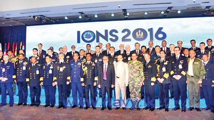 Navy Commander Vice Admiral Ravindra Wijegunaratne with other participants at the Indian Ocean Naval Symposium Seminar and Conclave of Navy Chiefs.