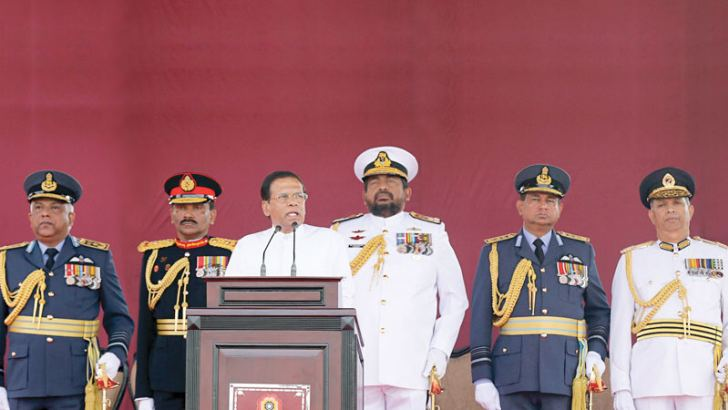 President Maithripala Sirisena Addressing the Nation at the 68th Independence Day celebrations at Galle Face Green on Thursday. Picture courtesy President's Media Division