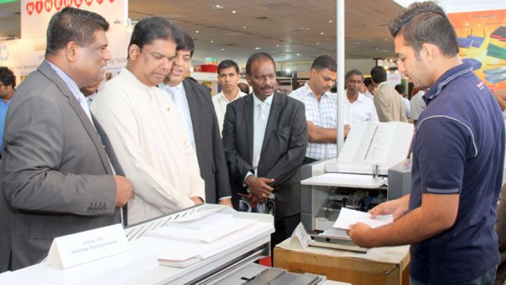 Mass Media and Parliamentary Reforms Minister Gayantha Karunathilake participates in the inauguration of the 'COLLATE' Exhibition organised by the Association of Printers. Picture by Chinthaka Kumarasinghe
