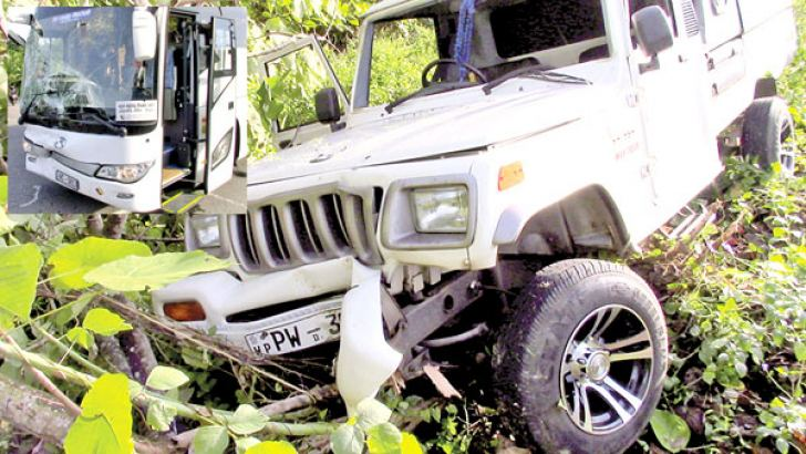 The damaged jeep which skidded off the road after the impact.  Pictures by Southern Province roving cor