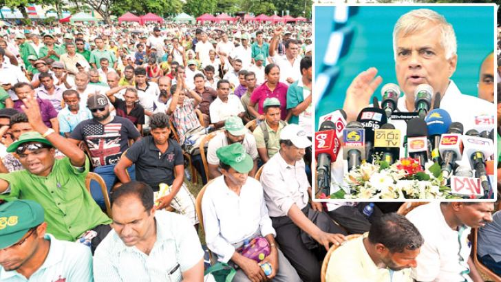 Prime Minister Ranil Wickremesinghe addressing the crowd at the UNP May Day rally at Campbell Park, Colombo yesterday. Pictures by Saman Mendis and Shan Rambukwella