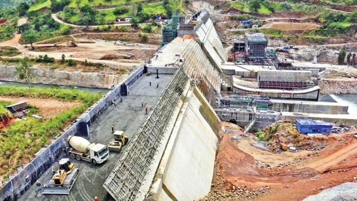 Work on the Moragahakanda Reservoir Project aimed at providing water to the people in the North Central and Northern provinces is progressing. The Moragahakanda Dam which is under construction would fill the reservoir with a storage capacity of 521,000 m 3 of water. Picture by Kanchana Kumara Ariyadasa