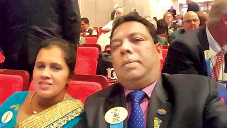 The newly elected Governor of Lions International District 306C1 Ranji Hewage at the Lions international convention 2016 held in Japan