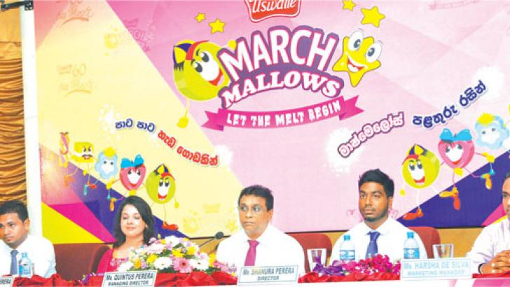 General Manager Shanaka Gunasekera, Director Suhanya Perera, Managing Director Quintus Perera, Director Shanura Perera, Marketing Manager Harsha de Silva at the new March Mallows product launch. Pictures by Thushara Fernando