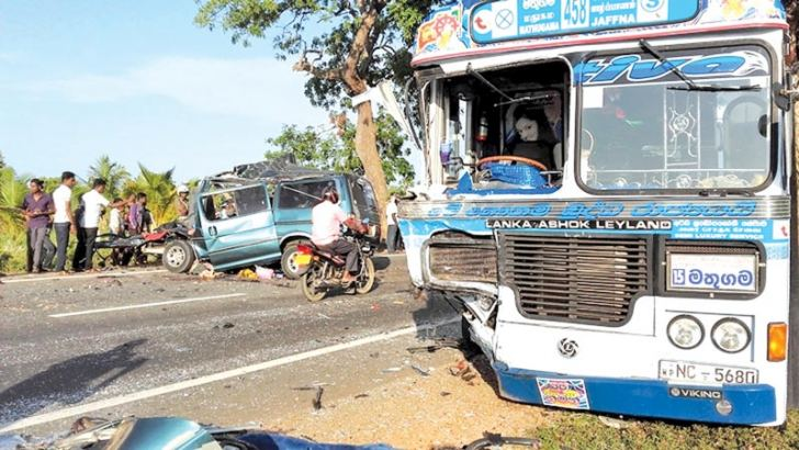 The bus and the van involved in the accident. Pic by Bandula Seneviratne, Vavuniya Central Corr.