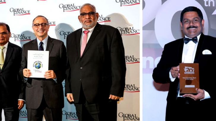 Commercial Bank's Chairman, Dharma Dheerasinghe (extreme left) and Managing Director, Jegan Durairatnam with the Global Finance award they received in Washington DC and  the Bank's Chief Operating Officer, S. Renganathan with the FinanceAsia Platinum award received in Hong Kong.