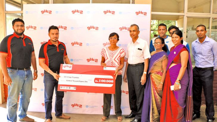Glitz Marketing Manager Raneez Sheriff making a donation of Rs. 1000,000 to the SOS Village to mark the renewal of the project.