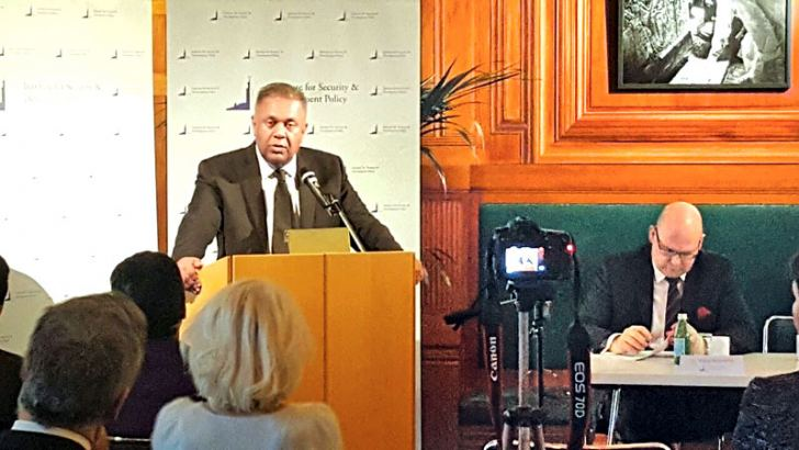 Foreign Affairs Minister Mangala Samaraweera speaking at Stockholm's Museum of Mediterranean and Near Eastern Antiquities.