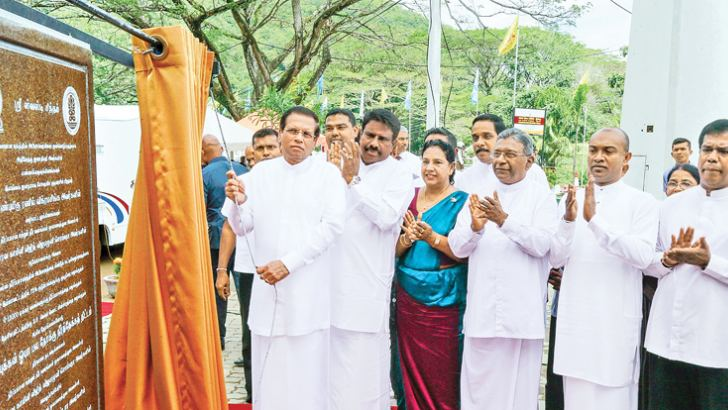 President Maithripala Sirisena unveils the plaque at the inauguration ceremony of the proposed Kumbukkan Oya Water Project in Kumbukkana, Moneragala on Saturday.