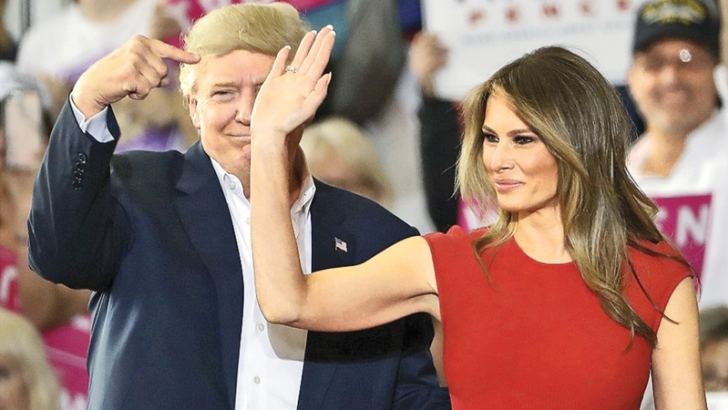 Finding her strike: Melania Trump gave the audience in Melbourne a taste of her First Lady style with a speech eschewing critics.
