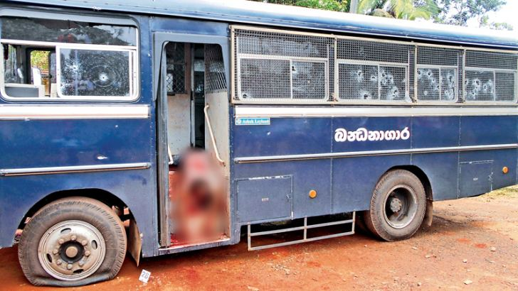 The bullet riddled bus.  Pictures by Kalutara Central Group corr