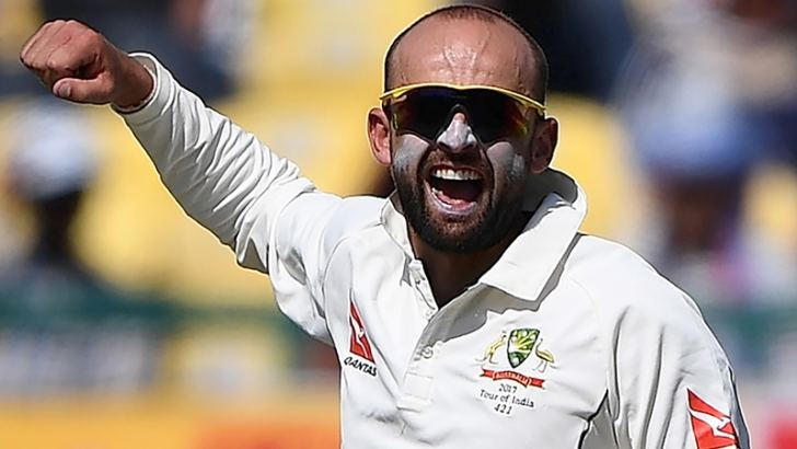 Australia's Nathan Lyon celebrates the wicket of India's Cheteshwar Pujara during the second day of play of the fourth and last Test cricket match between India and Australia at The Himachal Pradesh Cricket Association Stadium in Dharamsala on March 26. AFP