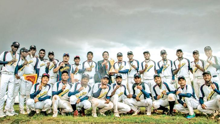 West Asia Baseball champion Sri Lanka team with their trophy