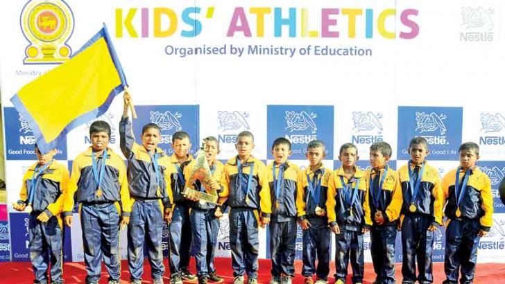 Kids Athletics Grade three boys' overall champs, Matara Rahula College team