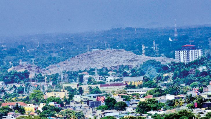 Meethotamulla garbage dump from a distance. Picture by Wimal Karunathilaka