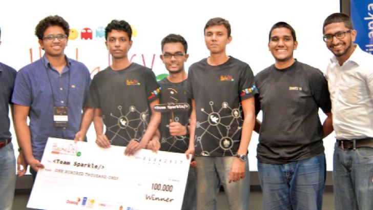 Overall Winners with Dialog Group CEO and UNDP SL Innovation Focal Point.