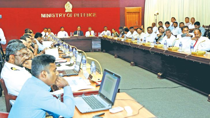 The meeting at the Defence Ministry on Monday with the participation of  Rehabilitation,Resettlement and Hindu Religious Affairs Minister D.M. Swaminathan, Defence State Minister Ruwan Wijewardene and Defence Secretary Karunasena Hettiarachchi was in progress .