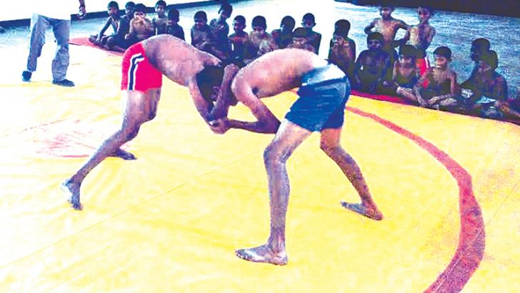 A wrestling training session at the school main hall