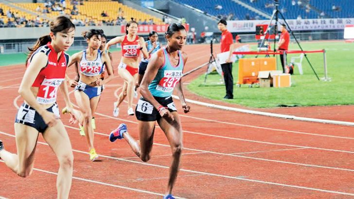 Nimali Liyanarachchi taking part  in the 800 metres event in the first leg in Jinhua, China.  Picture by Prince Gunasekera