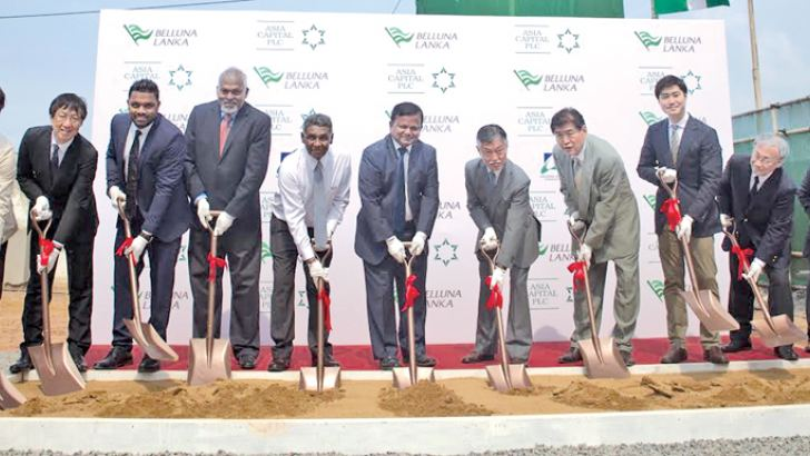 Japanese Ambassador to Sri Lanka, Kenichi Suganuma,Defence Ministry Secretary Karunasena Hettiarachchi, Board of Investment Chairman Upul Jayasuriya, Belluna Co. Ltd Managing Director Hiroshi Yasuno and officials at the ground breaking yesterday.