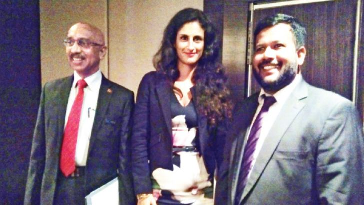 Chairman of International Chamber of Commerce Sri Lanka Keerthi  Gunawardane (left), Vice President Global Alliance for Trade  Facilitation Donia Hammami (centre) and Minister of Industry and  Commerce Rishad Bathiudeen (right)  at Cinnamon Grand Hotel having  initiated the historic WTO TFA to Sri Lankan global trade regime yesterday.