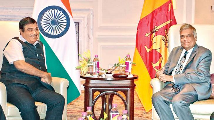 Indian Minister of Road Transport, Highways and Shipping Nitin Gadkari at talks with Prime Minister Ranil Wickremesinghe and his delegation.