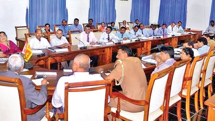 The progress review meeting at the Eastern Province Governor's Secretariat. Picture by I.L.M.RIZAN, Addalaichenai Central Correspondent