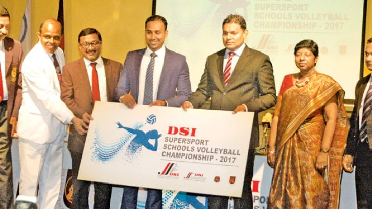 The Managing Director of D. Samson & Sons (Pvt) Ltd Thusitha Rajapaksa (5th from left) handing over the sponsorship cheque to the president of Sri Lanka Volleyball Federation W.G.S. Erandika. Also in the picture are (from left) General Secretary of SLVB - A.S. Nalaka, Sri Lanka Schools Volleyball Association President Lal Dissanayake, Additional Secretary of Education Ministry - A.S. Hewage, Mrs. Kaushalya Perera - Director of DSI and Upendra Gunawardhana – Senior Manager (Marketing) DSI. Pix by Ranjith Asa