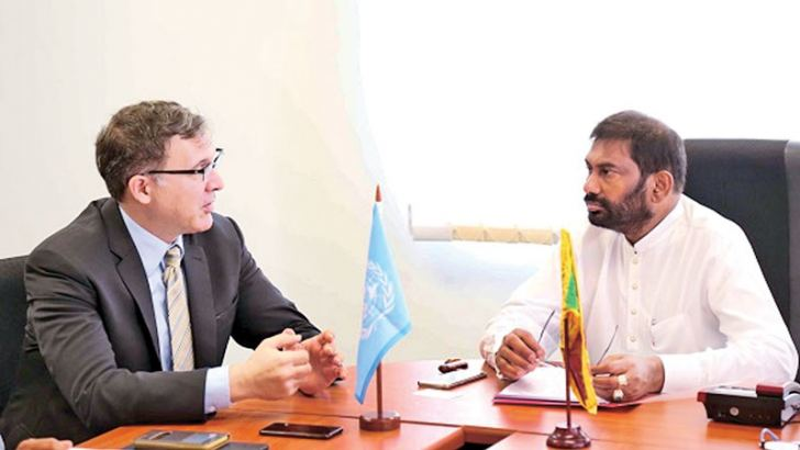 Minister Daya Gamage with FAO project coordinator Passeri