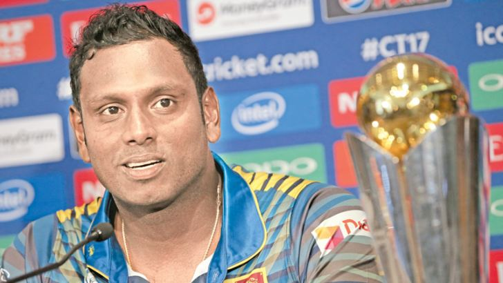 Sri Lanka captain Angelo Mathews addresses a press conference in The Grange in London on Thursday ahead of the ICC Champions Trophy tournament to be held from June 1-18. - AFP