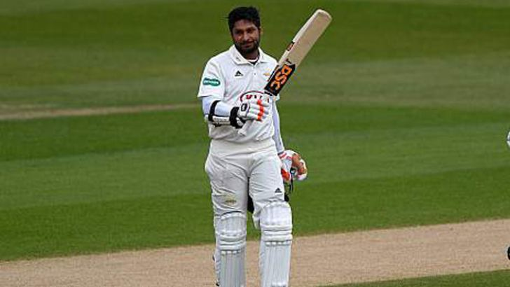 Peerless Kumar Sangakkara celebrates his fifth straight hundred in theEnglish county championship this season for Surrey on the opening day of their match against v Essex at Chelmsford on Friday.
