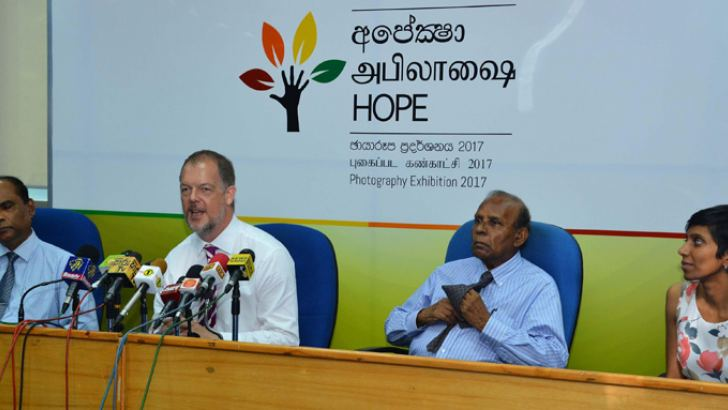 ONUR Director General M.S. Jayasinghe said and other members look on when Councillor at the EU delegation Paul Godfrey was addressing media in Colombo yesterday