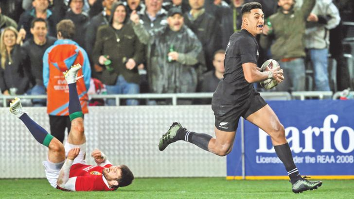 New Zealand's All Blacks Rieko Ioane races away for a try during the first Test match against British and Irish Lions at Eden Park on Saturday. AFP