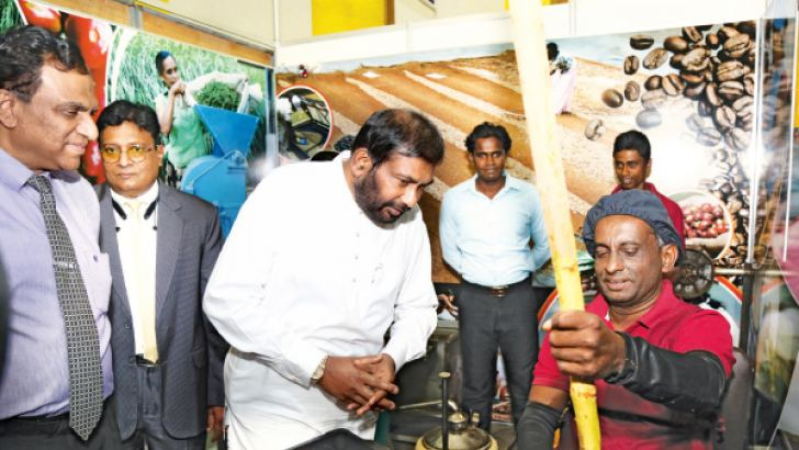 Minister Daya Gamage at the Inco exhibition. Picture by Ranjith Asanka